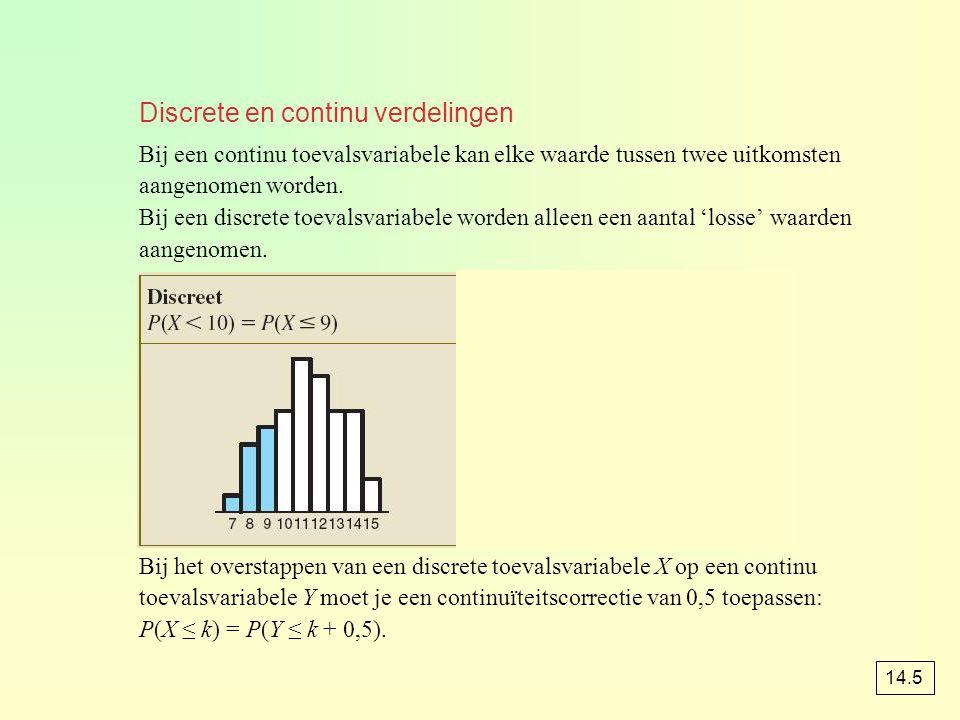 Discrete en continu verdelingen Bij een continu toevalsvariabele kan elke waarde tussen twee uitkomsten aangenomen worden. Bij een discrete toevalsvar