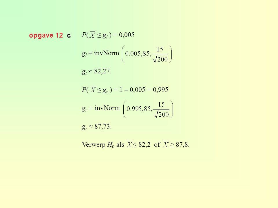 opgave 12 c P( ≤ g l ) = 0,005 g l = invNorm g l ≈ 82,27. P( ≤ g r ) = 1 – 0,005 = 0,995 g r = invNorm g r ≈ 87,73. Verwerp H 0 als ≤ 82,2 of ≥ 87,8.