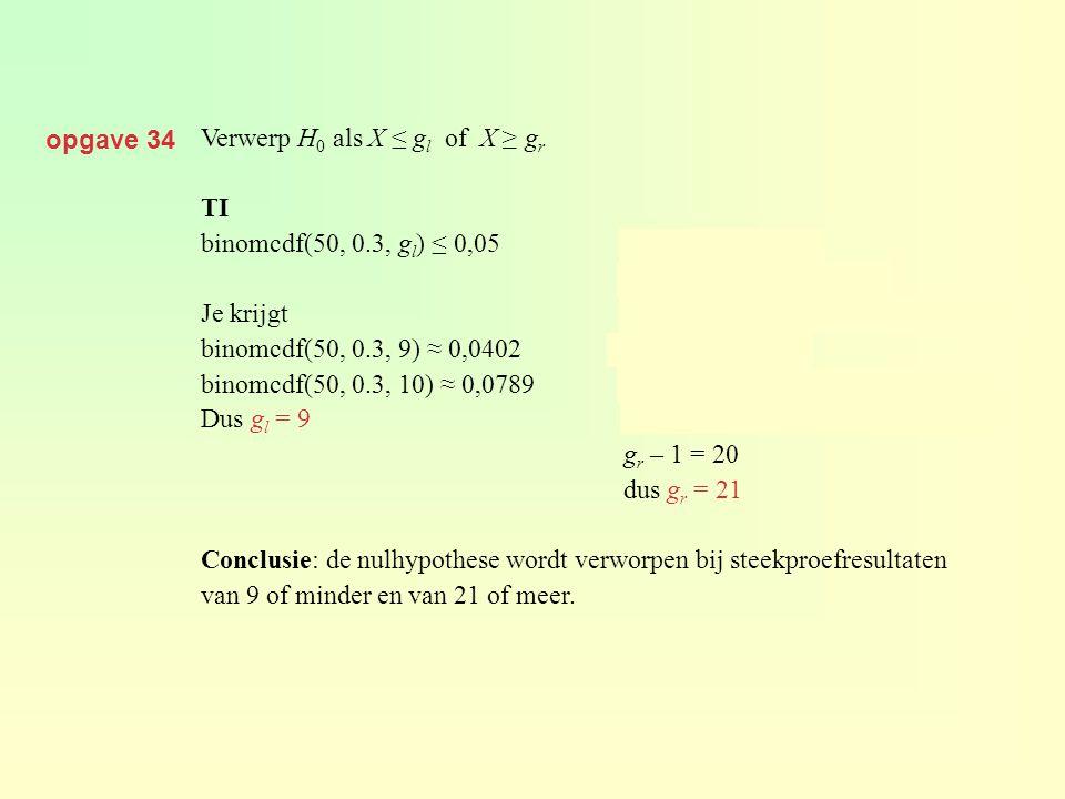 opgave 34 Verwerp H 0 als X ≤ g l of X ≥ g r TI binomcdf(50, 0.3, g l ) ≤ 0,05 P(X ≤ g r ) ≤ 0,05 1 – P(X ≤ g r – 1) ≤ 0,05 Je krijgt1 – binomcdf(50,