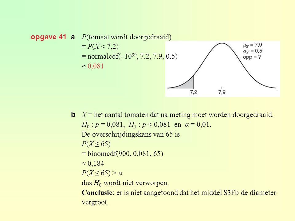 opgave 41 a P(tomaat wordt doorgedraaid) = P(X < 7,2) = normalcdf(–10 99, 7.2, 7.9, 0.5) ≈ 0,081 X = het aantal tomaten dat na meting moet worden door