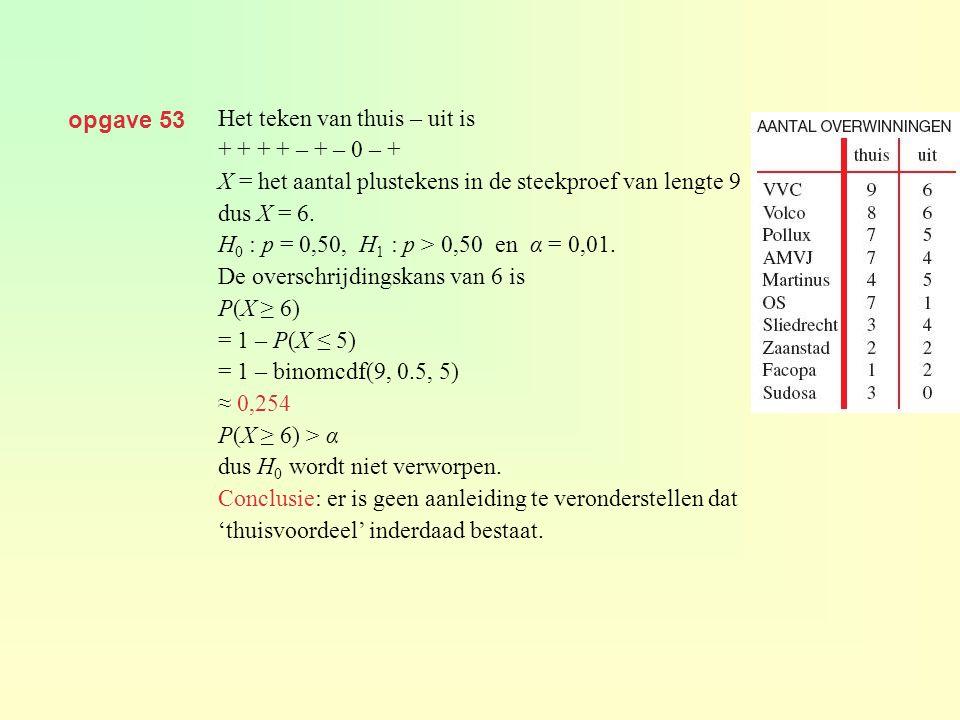opgave 53 Het teken van thuis – uit is + + + + – + – 0 – + X = het aantal plustekens in de steekproef van lengte 9 dus X = 6. H 0 : p = 0,50, H 1 : p