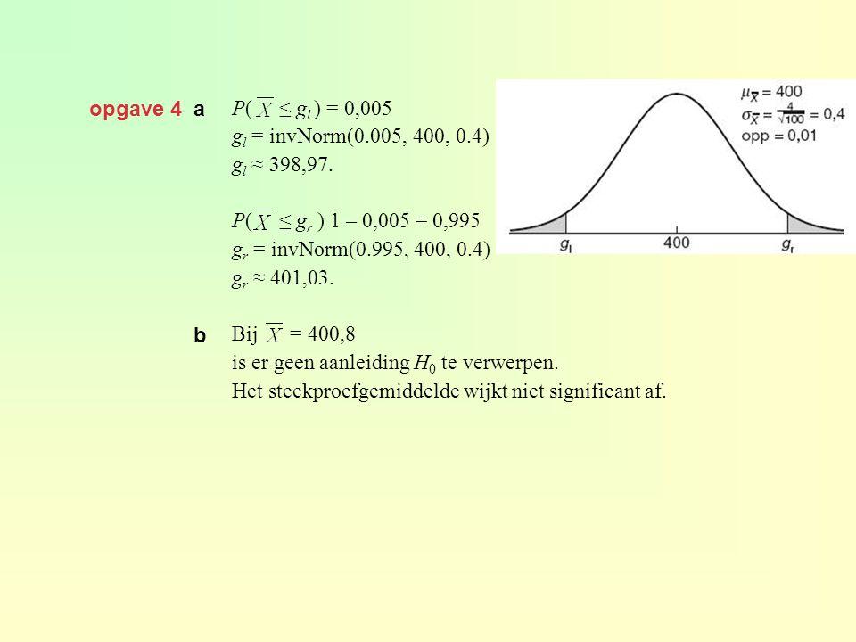 opgave 4 a P( ≤ g l ) = 0,005 g l = invNorm(0.005, 400, 0.4) g l ≈ 398,97. P( ≤ g r ) 1 – 0,005 = 0,995 g r = invNorm(0.995, 400, 0.4) g r ≈ 401,03. B