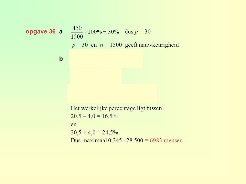 opgave 36 a p = 30 en n = 1500 geeft nauwkeurigheid dus p = 30 Het werkelijke percentage ligt tussen 20,5 – 4,0 = 16,5% en 20,5 + 4,0 = 24,5%. Dus max