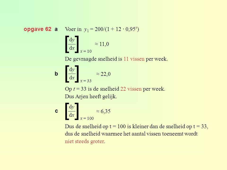 opgave 62 a Voer in y 1 = 200/(1 + 12 · 0,95 x ) ≈ 11,0 De gevraagde snelheid is 11 vissen per week. ≈ 22,0 Op t = 33 is de snelheid 22 vissen per wee