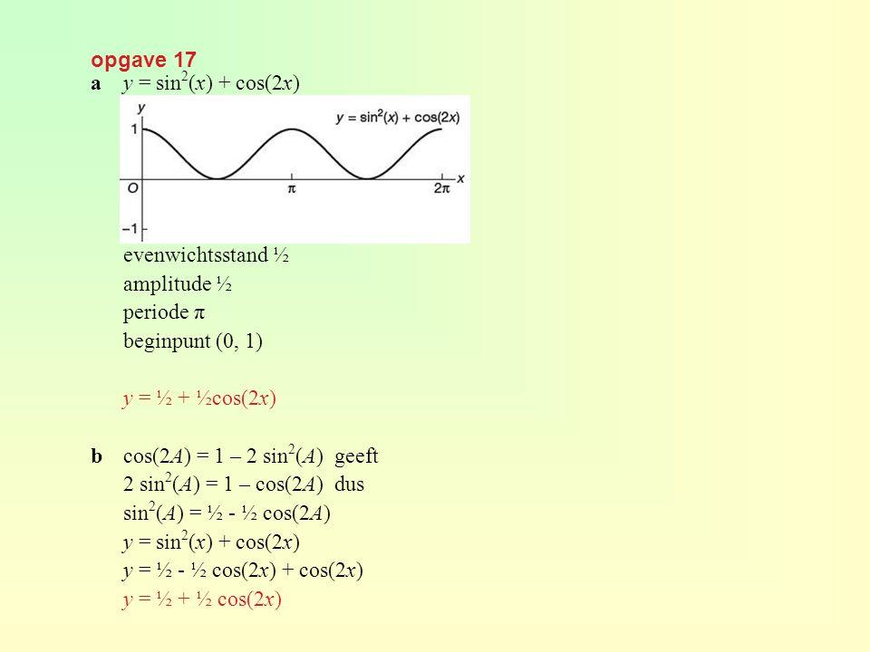 opgave 17 ay = sin 2 (x) + cos(2x) evenwichtsstand ½ amplitude ½ periode π beginpunt (0, 1) y = ½ + ½cos(2x) bcos(2A) = 1 – 2 sin 2 (A) geeft 2 sin 2