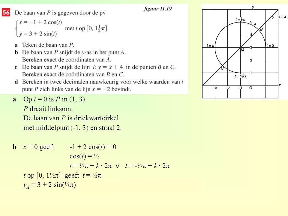 De pv van de baan van P is aOp t = 0 is P in (1, 3). P draait linksom. De baan van P is driekwartcirkel met middelpunt (-1, 3) en straal 2. bx = 0 gee