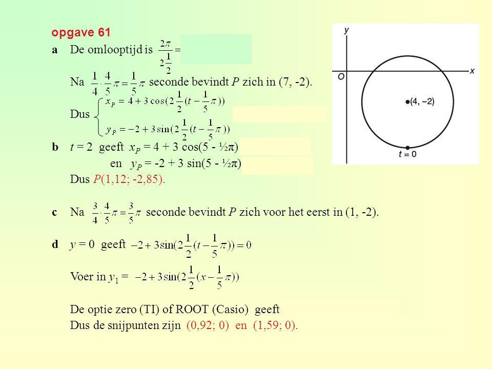 opgave 61 aDe omlooptijd is seconden. Na seconde bevindt P zich in (7, -2). Dus met t in seconden. bt = 2 geeft x P = 4 + 3 cos(5 - ½π) ≈ 1,12 en y P