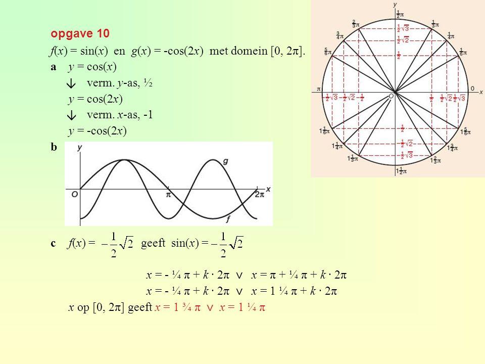 opgave 36 af(x) = 1 + 2 sin(x - ⅓π) met domein [0, 2π] evenwichtsstand 1 amplitude 2 periode 2π beginpunt (⅓π, 1) bHorizontale raaklijn in de toppen ( ⅚, 3) en (1 ⅚, -1), dus x = ⅚ π en x = 1 ⅚ π.