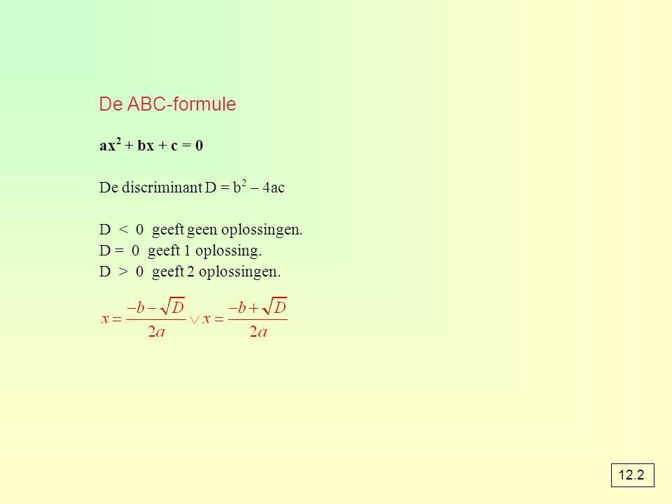 De ABC-formule ax 2 + bx + c = 0 De discriminant D = b 2 – 4ac D < 0 geeft geen oplossingen. D = 0 geeft 1 oplossing. D > 0 geeft 2 oplossingen. 12.2