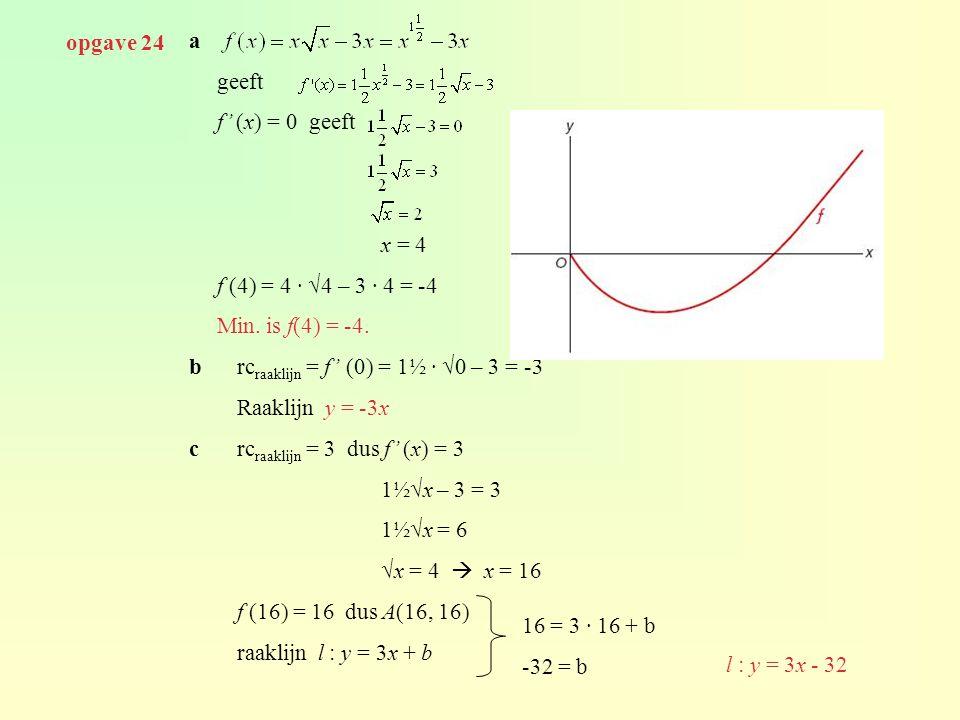 a geeft f' (x) = 0 geeft x = 4 f (4) = 4 · √4 – 3 · 4 = -4 Min. is f(4) = -4. brc raaklijn = f' (0) = 1½ · √0 – 3 = -3 Raaklijn y = -3x crc raaklijn =