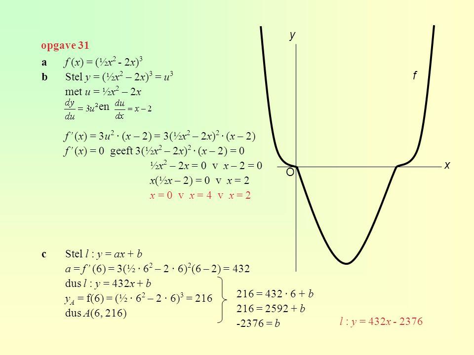 opgave 31 af (x) = (½x 2 - 2x) 3 bStel y = (½x 2 – 2x) 3 = u 3 met u = ½x 2 – 2x en f' (x) = 3u 2 · (x – 2) = 3(½x 2 – 2x) 2 · (x – 2) f' (x) = 0 geef