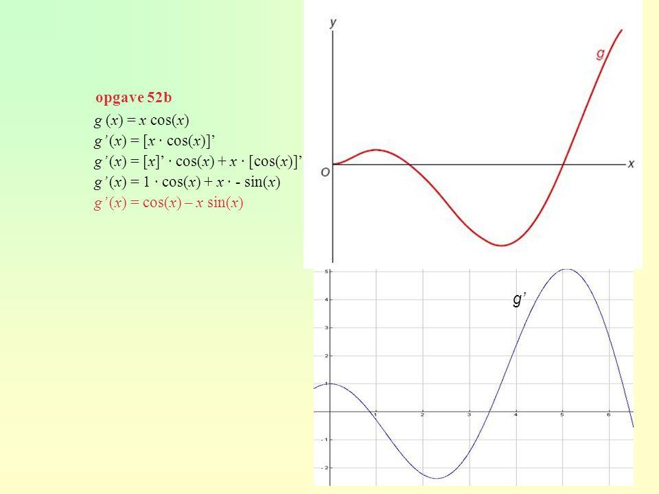 opgave 52b g (x) = x cos(x) g' (x) = [x · cos(x)]' g' (x) = [x]' · cos(x) + x · [cos(x)]' g' (x) = 1 · cos(x) + x · - sin(x) g' (x) = cos(x) – x sin(x