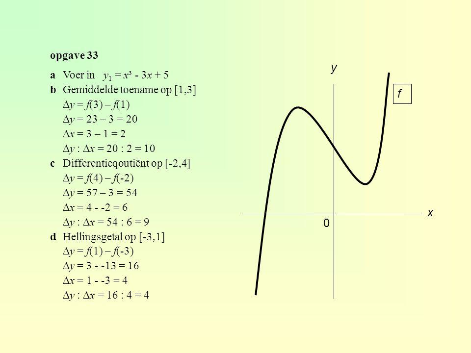 opgave 33 x y 0 f aVoer in y 1 = x³ - 3x + 5 bGemiddelde toename op [1,3] ∆y = f(3) – f(1) ∆y = 23 – 3 = 20 ∆x = 3 – 1 = 2 ∆y : ∆x = 20 : 2 = 10 cDifferentieqoutiënt op [-2,4] ∆y = f(4) – f(-2) ∆y = 57 – 3 = 54 ∆x = 4 - -2 = 6 ∆y : ∆x = 54 : 6 = 9 dHellingsgetal op [-3,1] ∆y = f(1) – f(-3) ∆y = 3 - -13 = 16 ∆x = 1 - -3 = 4 ∆y : ∆x = 16 : 4 = 4