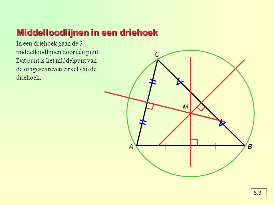 Middelloodlijnen in een driehoek AB C | | = = v v In een driehoek gaan de 3 middelloodlijnen door één punt. Dat punt is het middelpunt van de omgeschr