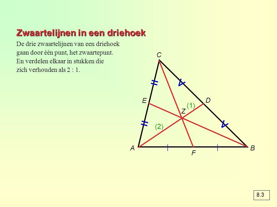 Zwaartelijnen in een driehoek AB C     = = v v Z D E F De drie zwaartelijnen van een driehoek gaan door één punt, het zwaartepunt. En verdelen elkaar