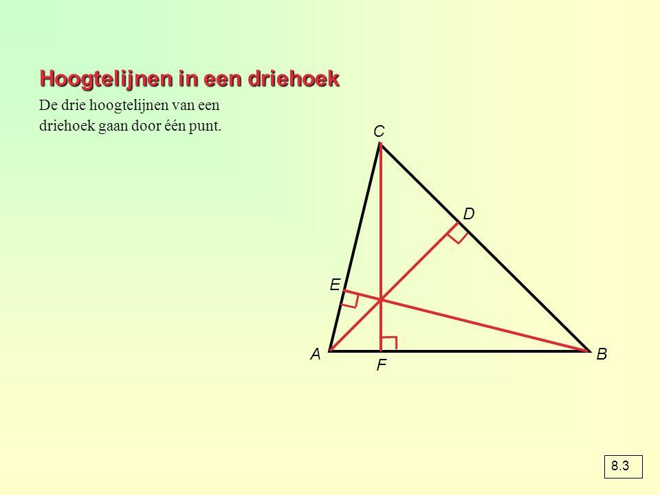 Hoogtelijnen in een driehoek AB C D E F De drie hoogtelijnen van een driehoek gaan door één punt. 8.3