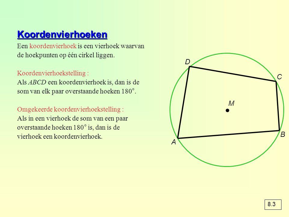 Koordenvierhoeken Een koordenvierhoek is een vierhoek waarvan de hoekpunten op één cirkel liggen. Koordenvierhoekstelling : Als ABCD een koordenvierho