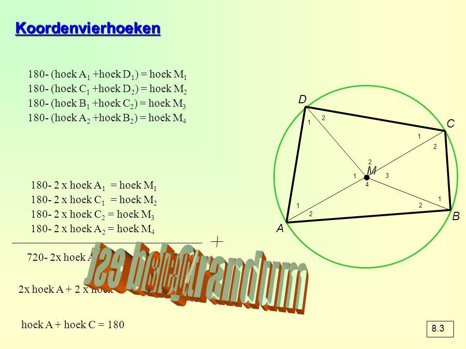 Koordenvierhoeken 180- (hoek A 1 +hoek D 1 ) = hoek M 1 180- (hoek C 1 +hoek D 2 ) = hoek M 2 180- (hoek B 1 +hoek C 2 ) = hoek M 3 180- (hoek A 2 +ho