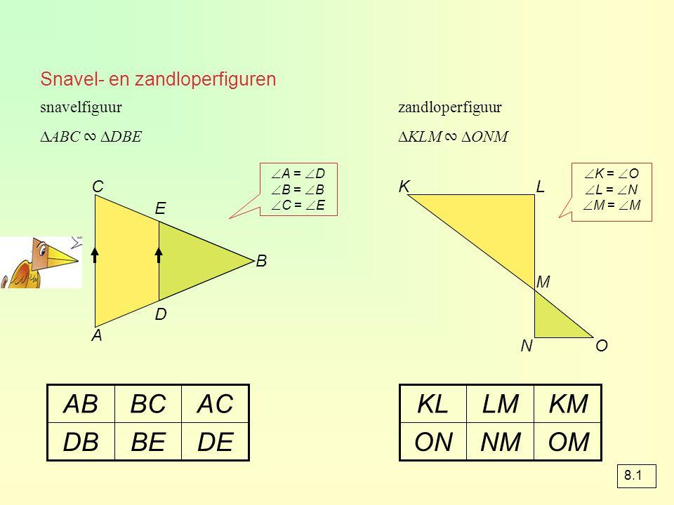 Snavel- en zandloperfiguren snavelfiguur A B C D E DEBEDB ACBCAB zandloperfiguur KL M NO OMNMON KMLMKL ∆ABC ∾ ∆DBE∆KLM ∾ ∆ONM  A =  D  B =  B  C
