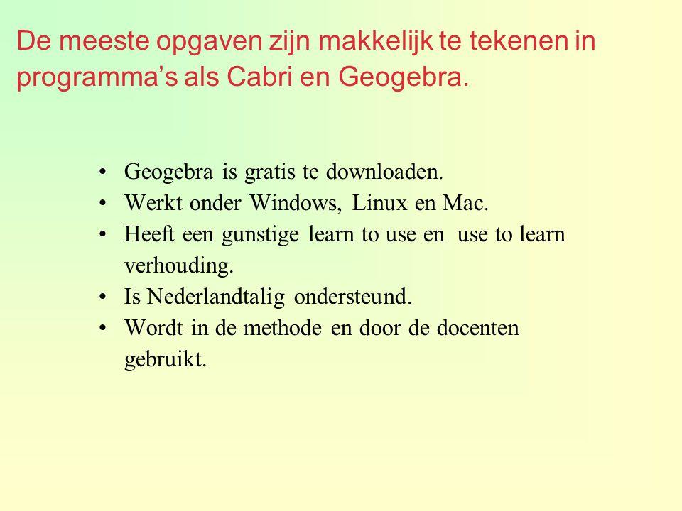 De meeste opgaven zijn makkelijk te tekenen in programma's als Cabri en Geogebra. Geogebra is gratis te downloaden. Werkt onder Windows, Linux en Mac.