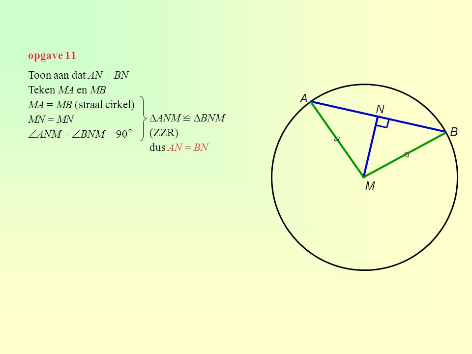 opgave 11 ∙ M A B Toon aan dat AN = BN Teken MA en MB MA = MB (straal cirkel) MN = MN  ANM =  BNM = 90° N ∆ANM ≌ ∆BNM (ZZR) dus AN = BN ◊ ◊