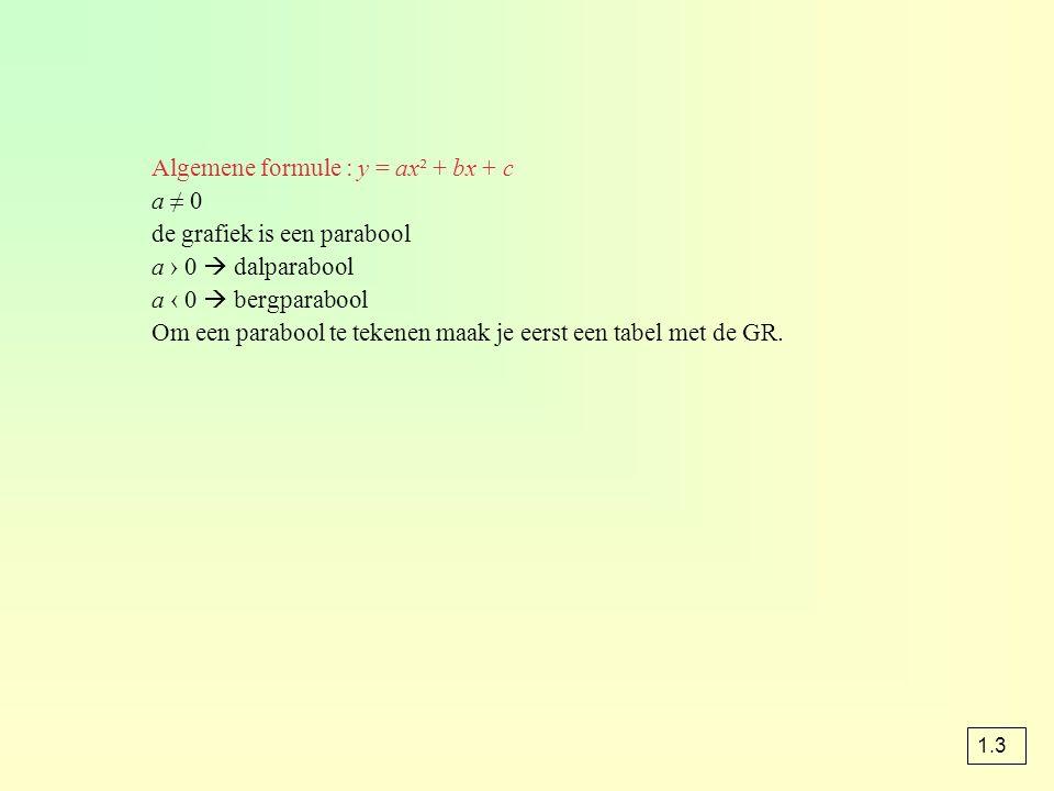 Algemene formule : y = ax² + bx + c a ≠ 0 de grafiek is een parabool a › 0  dalparabool a ‹ 0  bergparabool Om een parabool te tekenen maak je eerst een tabel met de GR.