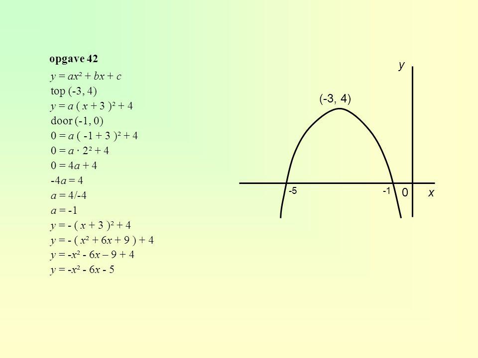 opgave 42 y x0 (-3, 4) -5 y = ax² + bx + c top (-3, 4) y = a ( x + 3 )² + 4 door (-1, 0) 0 = a ( -1 + 3 )² + 4 0 = a · 2² + 4 0 = 4a + 4 -4a = 4 a = 4/-4 a = -1 y = - ( x + 3 )² + 4 y = - ( x² + 6x + 9 ) + 4 y = -x² - 6x – 9 + 4 y = -x² - 6x - 5