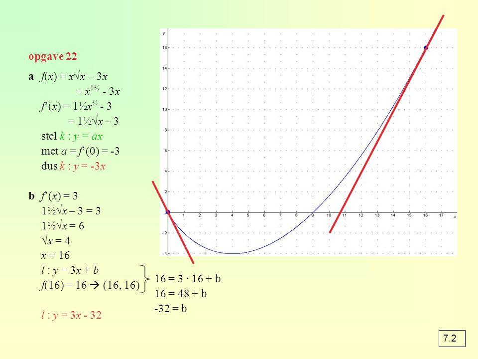 opgave 22 af(x) = x√x – 3x = x 1½ - 3x f'(x) = 1½x ½ - 3 = 1½√x – 3 stel k : y = ax met a = f'(0) = -3 dus k : y = -3x bf'(x) = 3 1½√x – 3 = 3 1½√x =