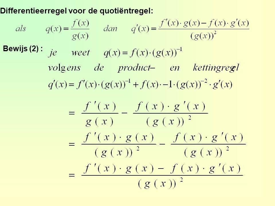 agrafiek braaklijn horizontaal  f'(x) = 0 y = (½x 2 – 2x) 3 = u 3 met u = ½x 2 - 2x = 3u 2 en = x - 2 f'(x) = 3u 2 · (x – 2) = 3(½x 2 – 2x) 2 · (x – 2) f'(x) = 0  3(½x 2 – 2x) 2 · (x – 2) = 0 ½x 2 – 2x = 0 v x – 2 = 0 x 2 – 4x = 0 v x – 2 = 0 x(x – 4) = 0 v x = 2 x = 0 v x = 4 v x = 2 cstel l : y = ax + b a = f'(6) = 3(½ · 6 2 – 2 · 6) 2 · (6 – 2) = 432 l : y = 432x + b f(6) = 216 dus A(6, 216) dus l: y = 432x - 2376 dy dx dy dx opgave 29 216 = 432 · 6 + b b = -2376 7.3