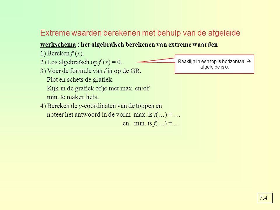 Extreme waarden berekenen met behulp van de afgeleide werkschema : het algebraïsch berekenen van extreme waarden 1) Bereken f'(x). 2) Los algebraïsch