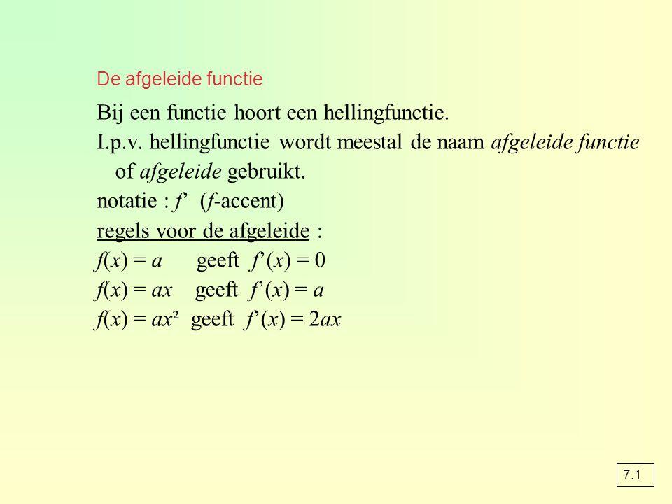 voorbeeld f(x) = (2x – 7)(8 + x) f(x) = 16x + 2x² - 56 – 7x f(x) = 2x² + 9x – 56 f'(x) = 2 · 2x + 9 f'(x) = 4x + 9 eerst haakjes wegwerken dezelfde termen optellen somregel van differentiëren