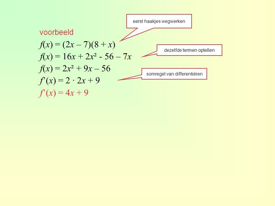 Andere regels ?!.De productfunctie van f en g is dan: p(x) = f(x) · g(x) = x 3 · x 2.