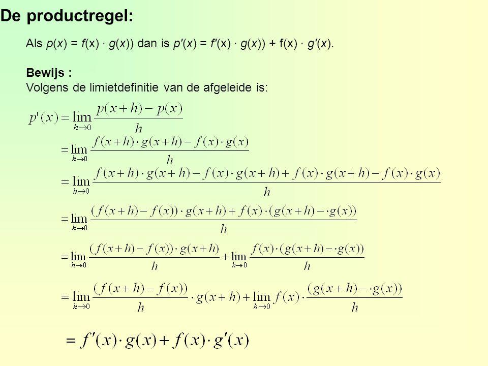 De productregel: Als p(x) = f(x) · g(x)) dan is p'(x) = f'(x) · g(x)) + f(x) · g'(x). Bewijs : Volgens de limietdefinitie van de afgeleide is: