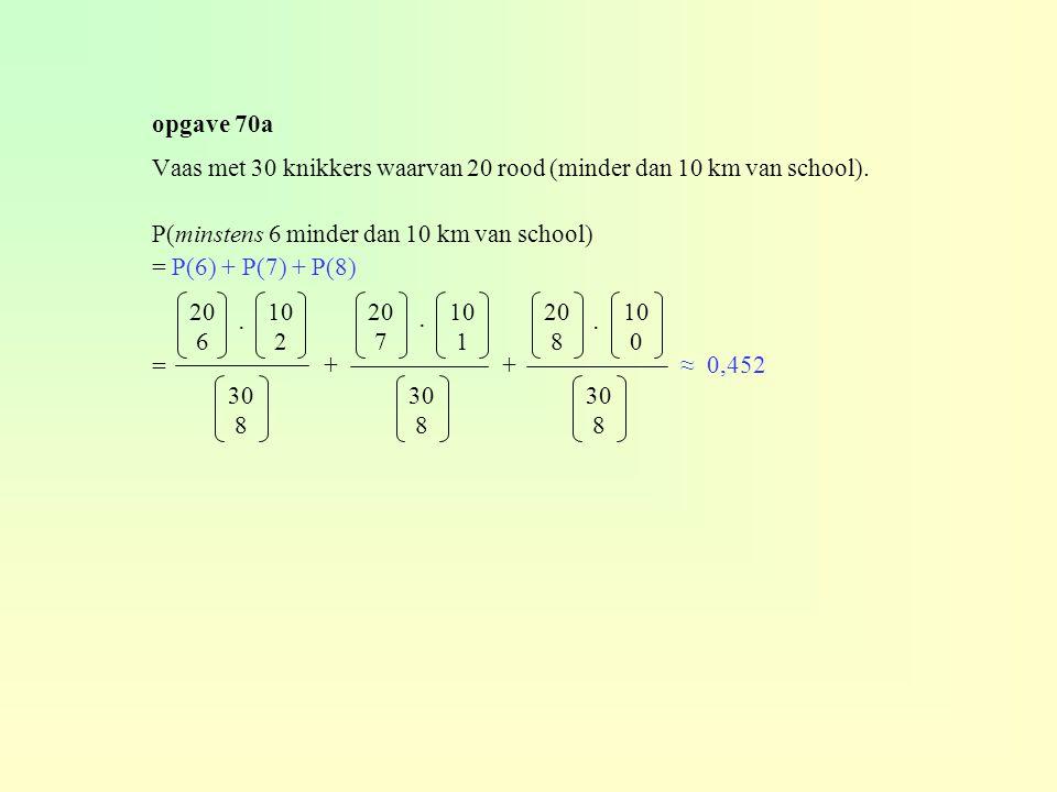 opgave 70a Vaas met 30 knikkers waarvan 20 rood (minder dan 10 km van school). P(minstens 6 minder dan 10 km van school) = P(6) + P(7) + P(8) = 20 6 3