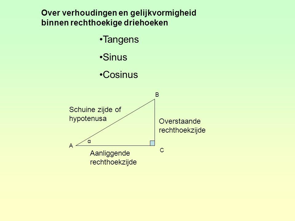 Tangens Sinus Cosinus Over verhoudingen en gelijkvormigheid binnen rechthoekige driehoeken α A B C Overstaande rechthoekzijde Aanliggende rechthoekzijde Schuine zijde of hypotenusa