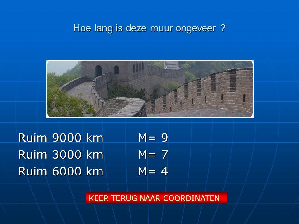 Hoe lang is deze muur ongeveer ? Ruim 9000 kmM= 9 Ruim 3000 kmM= 7 Ruim 6000 kmM= 4 KEER TERUG NAAR COORDINATEN