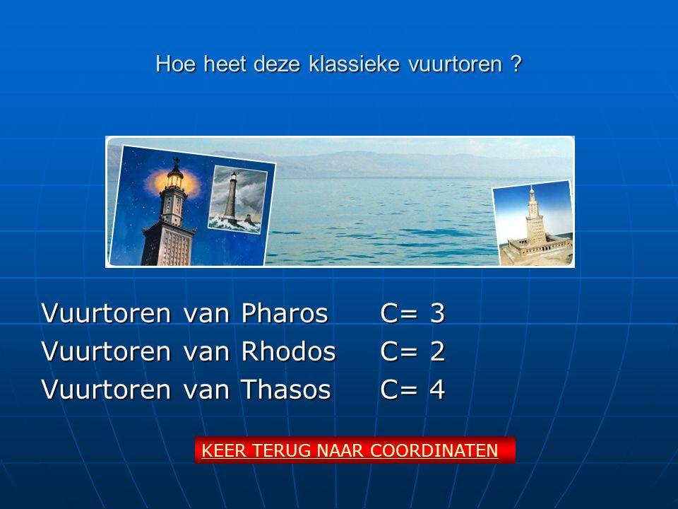 Hoe heet deze klassieke vuurtoren ? Vuurtoren van PharosC= 3 Vuurtoren van RhodosC= 2 Vuurtoren van ThasosC= 4 KEER TERUG NAAR COORDINATEN
