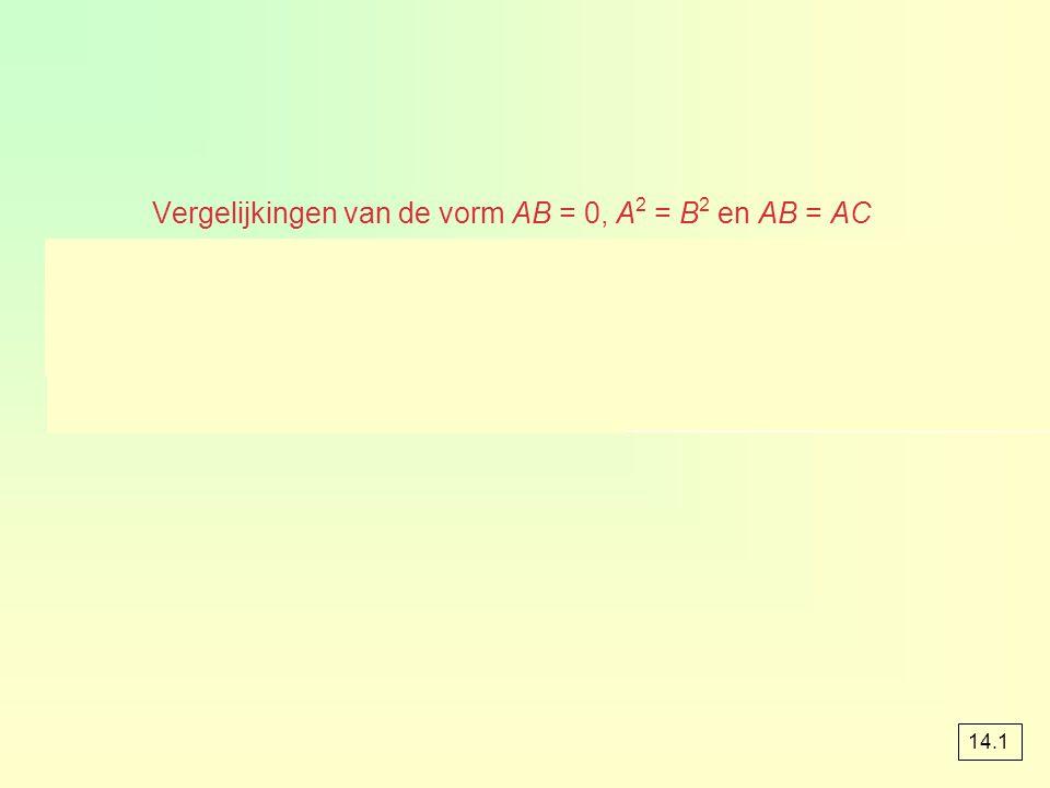 Vergelijkingen van de vorm AB = 0, A 2 = B 2 en AB = AC 14.1