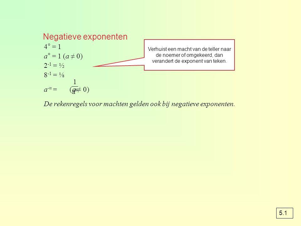 Machten met gebroken exponenten x ½ = √x x  = √x 4 ½ = √4 = 2 64  = √64 = 4 algemeen : a  = n √a ook geldt : a = √a (a > 0) pqpq q p 3 3 5.1