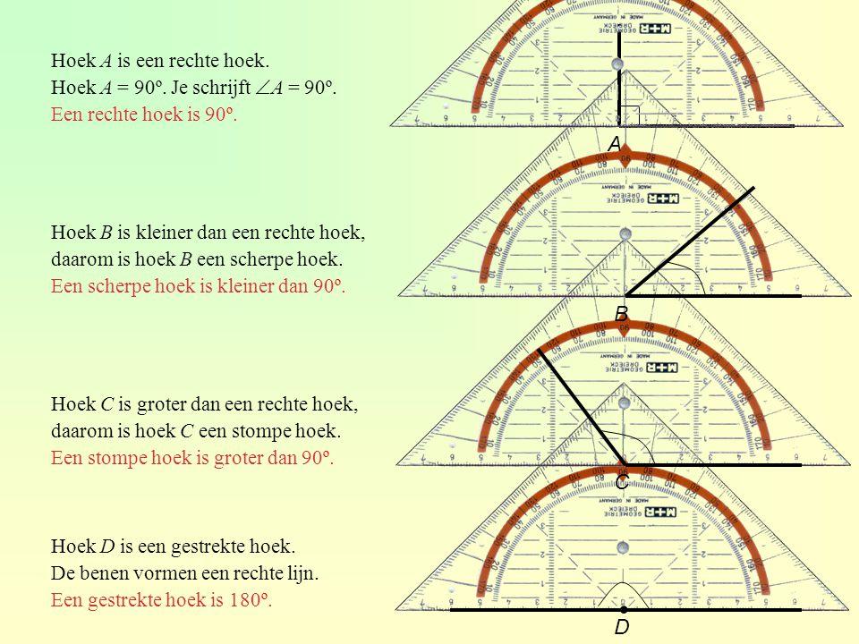 Hoek A is een rechte hoek. Hoek A = 90º. Je schrijft  A = 90º. Een rechte hoek is 90º. Hoek B is kleiner dan een rechte hoek, daarom is hoek B een sc