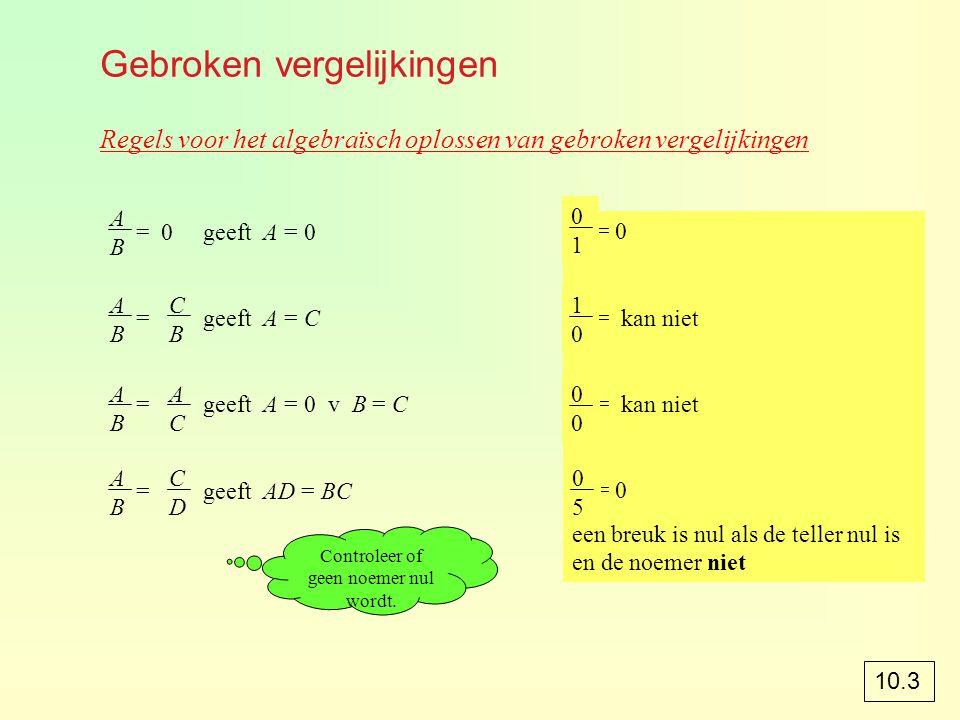 Gebroken vergelijkingen Regels voor het algebraïsch oplossen van gebroken vergelijkingen = 0 geeft A = 0 = geeft A = C = geeft A = 0 v B = C = geeft AD = BC ABAB ABAB CBCB ABAB ACAC ABAB CDCD Controleer of geen noemer nul wordt.