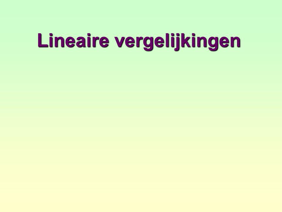 Termen overbrengen De vergelijking 5x – 2 = 2x + 13 is een voorbeeld van een lineaire vergelijking.