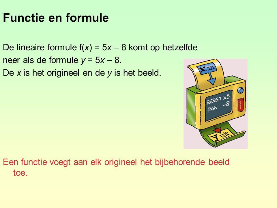 De haakjesnotatie De functie f met de formule y = 3x + 7 schrijven we in de haakjesnotatie f(x) = 3x + 7.
