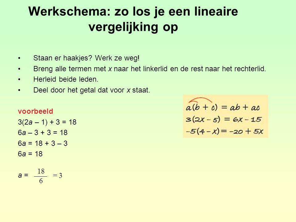oefening a7(2x – 5) – 8 = 3x – 10 14x – 35 – 8 = 3x – 10 14x – 3x = –10 + 35 + 8 11x = 33 x = 3 b14 = 5x – (–2x + 21) 14 = 5x + 2x – 21 –5x – 2x = –21 – 14 –7x = –35 x = 5 c8 – 3(5 – 2x) = 8(x – 1) – 11 8 – 15 + 6x = 8x – 8 – 11 6x – 8x = –8 – 11 – 8 + 15 –2x = –12 x = 6 d15 – 4(2x – 1) = 5x + 11 + 3x 15 – 8x + 4 = 5x + 11 + 3x –8x – 5x – 3x = 11 – 15 – 4 –16x = –8 x = =  –8 –16