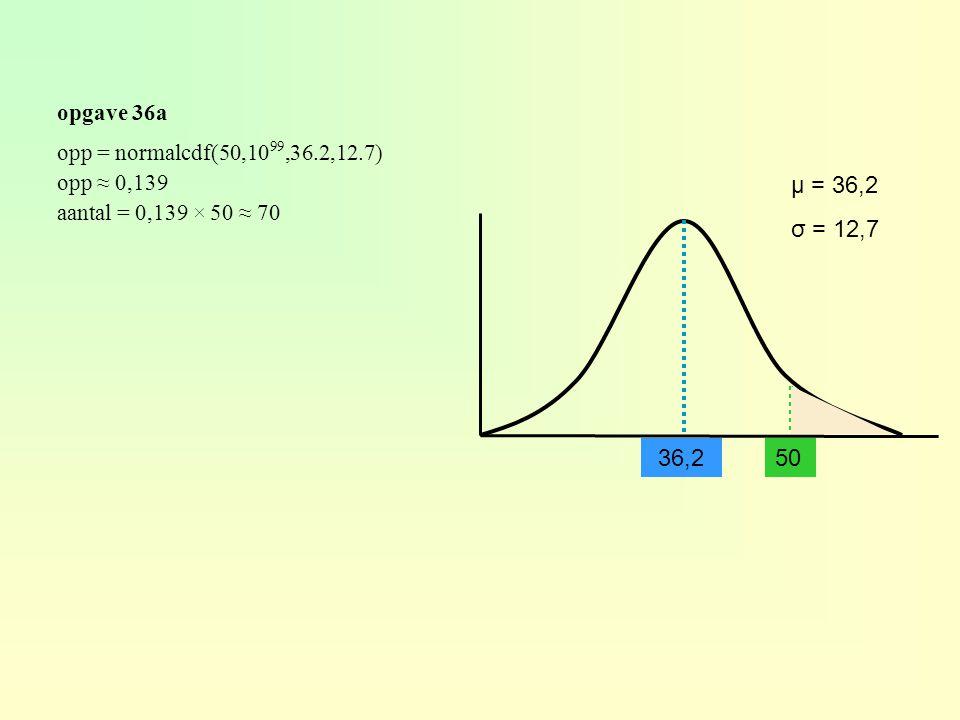 opgave 36a 36,250 μ = 36,2 σ = 12,7 opp = normalcdf(50,10 99,36.2,12.7) opp ≈ 0,139 aantal = 0,139 × 50 ≈ 70
