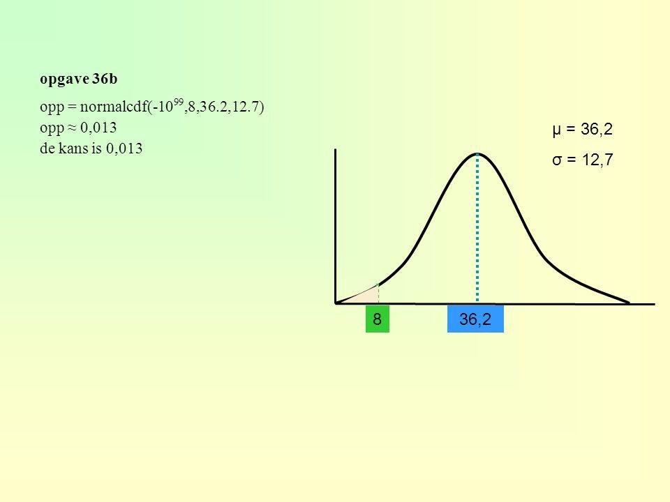 opgave 36b 36,28 μ = 36,2 σ = 12,7 opp = normalcdf(-10 99,8,36.2,12.7) opp ≈ 0,013 de kans is 0,013