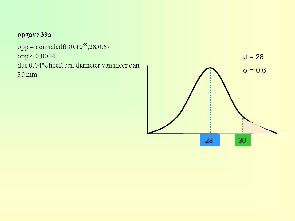 opgave 39a 28 μ = 28 σ = 0,6 opp = normalcdf(30,10 99,28,0.6) opp ≈ 0,0004 dus 0,04% heeft een diameter van meer dan 30 mm.