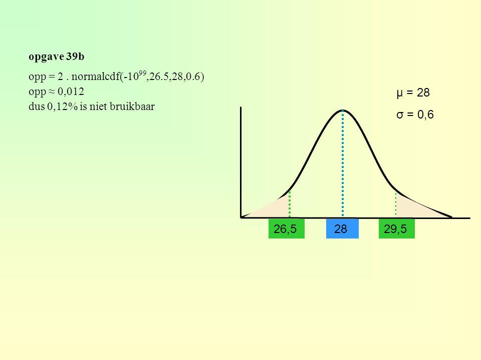 opgave 39b 28 μ = 28 σ = 0,6 opp = 2. normalcdf(-10 99,26.5,28,0.6) opp ≈ 0,012 dus 0,12% is niet bruikbaar 29,5 26,5