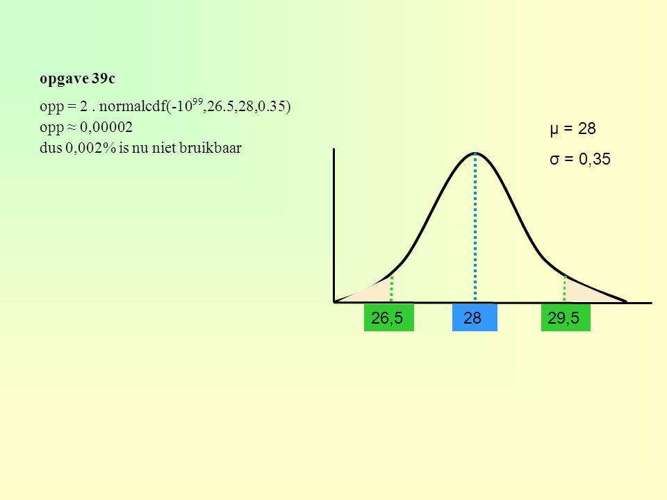 opgave 39c 28 μ = 28 σ = 0,35 opp = 2. normalcdf(-10 99,26.5,28,0.35) opp ≈ 0,00002 dus 0,002% is nu niet bruikbaar 29,5 26,5
