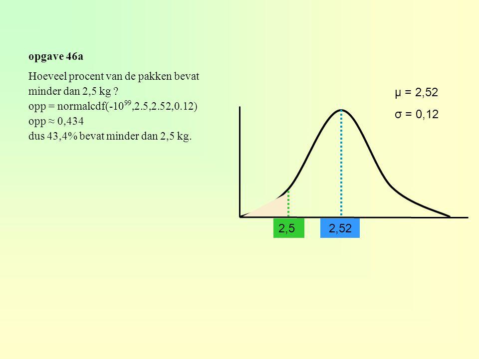 opgave 46a 2,52 μ = 2,52 σ = 0,12 Hoeveel procent van de pakken bevat minder dan 2,5 kg ? opp = normalcdf(-10 99,2.5,2.52,0.12) opp ≈ 0,434 dus 43,4%
